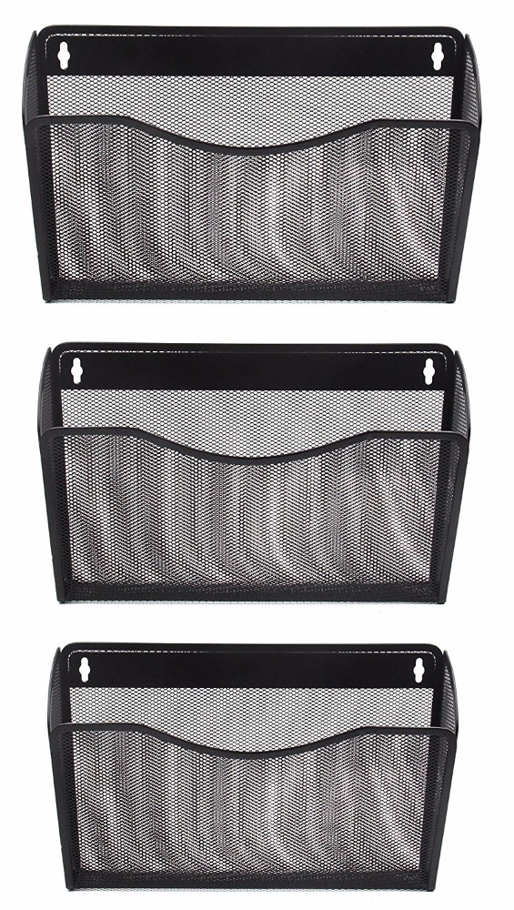 Mesh Collection 3 Pocket Wall Mounted Letter File Organizer,Black