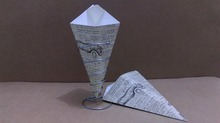 color printed chips or fries or crispy food-paper cone