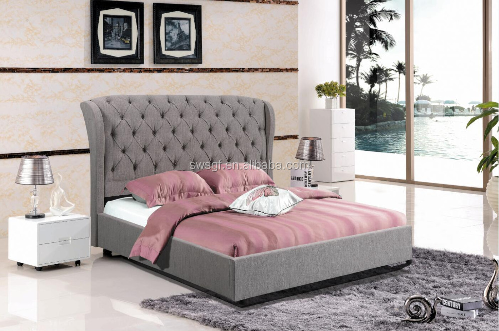 Contemporary Upholstered Linen Fabric Platform Bed with Headboard and Solid Wood Slats, Full, Grey