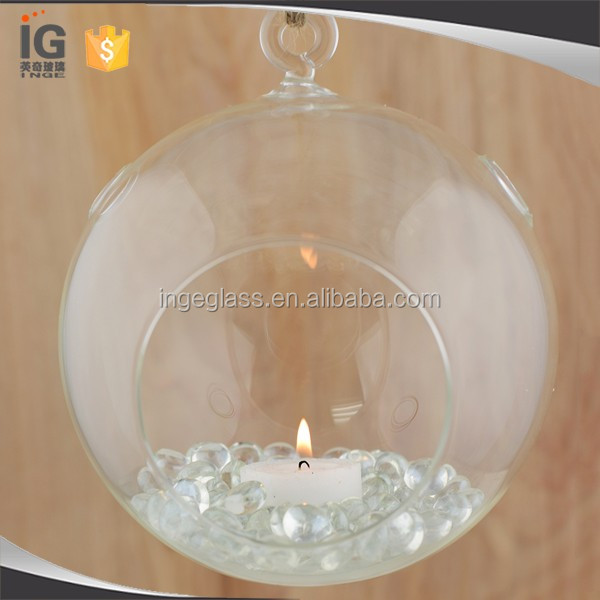 Glass globe Hanging Tealight Candle Holder,Hanging Clear Glass Candle Holder
