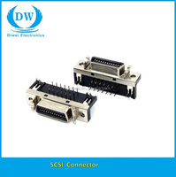 SCSI FEMALE 90 degree connector DIP Zinc alloy shell TYPE 14 20 26 36 50P scsi connector
