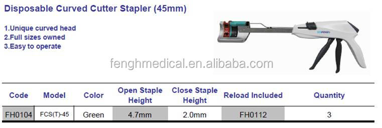 Disposable curved stapler as replacement of Ethicon