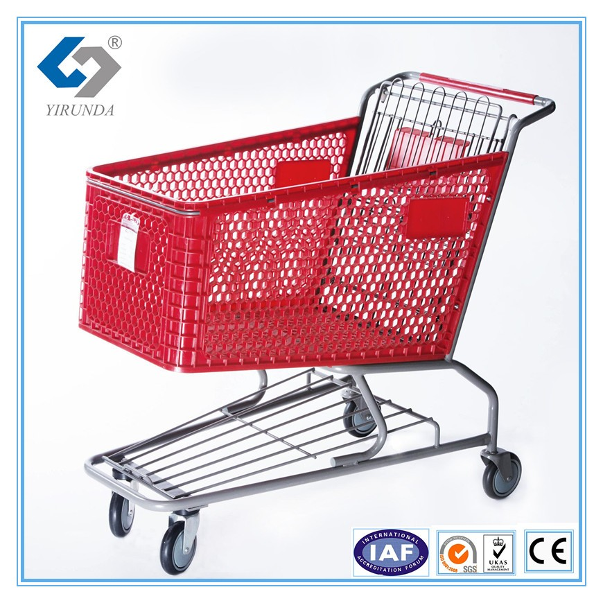 plastic rolling trolley supermarket shopping trolley with wheels