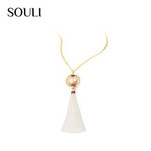 Upscale party jewerly natural stone beads pendant white fabric tassel necklace