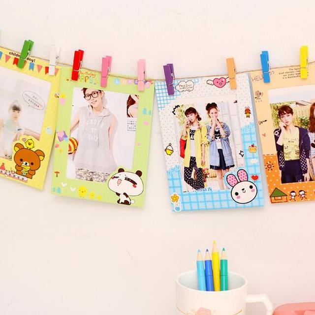 4PCS/set Hot sale cute colorful decoration brown paper frame cardboard picture Rahmen kraft paper photo frame