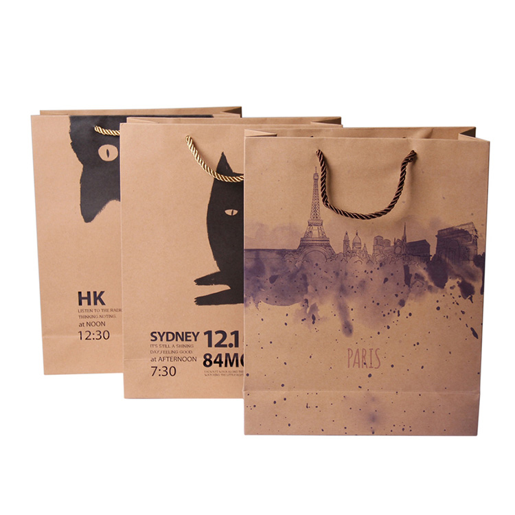 Custom printed cheap brown kraft paper gift bags with handles wholesale