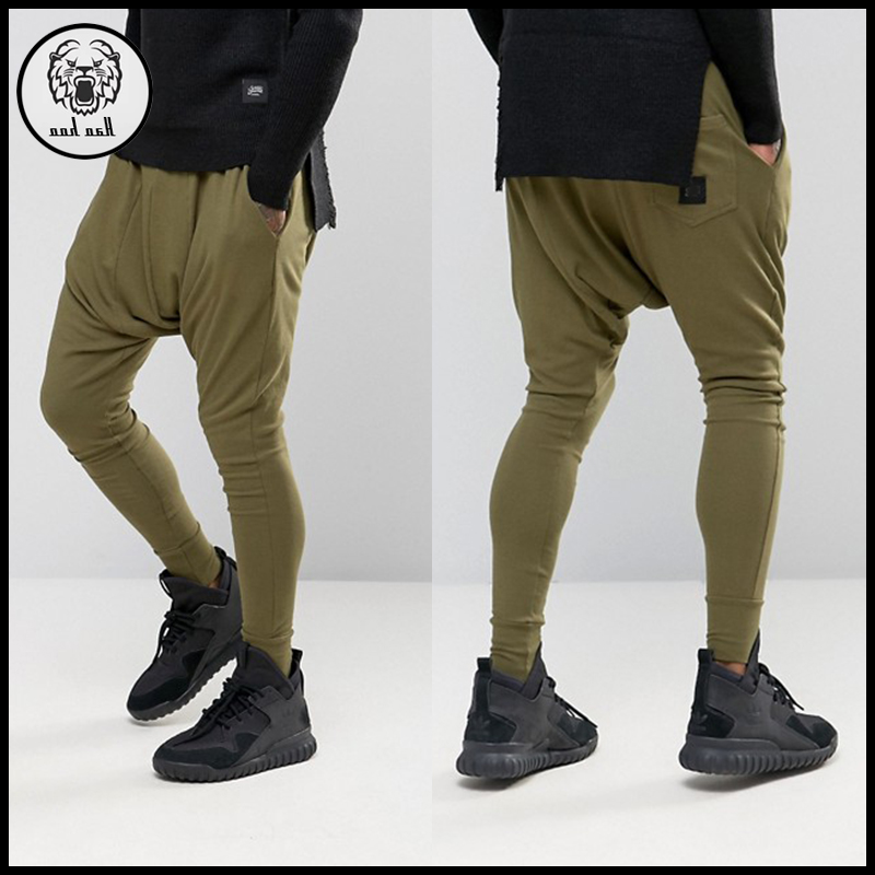 Hip hop style custom logo men slim fit jogging sweat pants drop crotch harem pants with skinny bottom