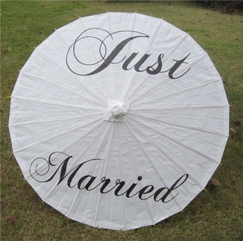 [SONO I VOSTRI VENTILATORI] scorte sufficienti! Cinese ombrello di carta Just married grazie Mr & Mrs