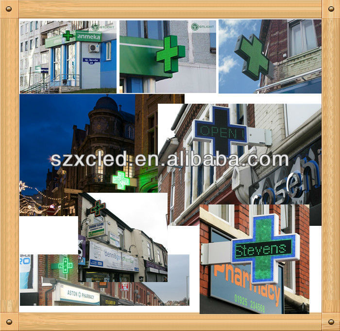 Double sides RG( Red and Green Tri-colors) P16 80cm led pharmacy cross sign