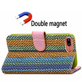 Natural Pattern Double Magnets Flip Leather Case TPU Back Case Handmade leather case for iPhone 7/8