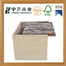 Factory price natural color unfinished bark lid wood box with slide top