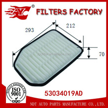 car air filter used for JEEP WRANGLER III (JK) 2.8 CRD OEM NO.53034019AD