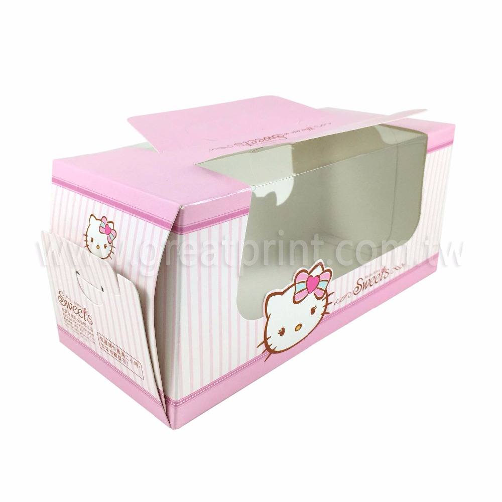 Custom Printing Logo Cupcake Favor Treat Paper Box with Handle
