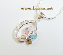 MULTI COLOR MOTHER OF PEARL STERLING SILVER BUTTERFLY PENDANT