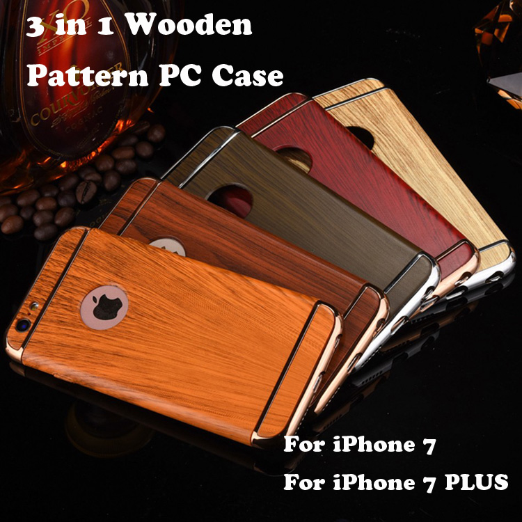 2017 Newest 3 In 1 Anti-knock Hard PC Cases Removable Back Cover Wood Pattern Phone Case for iPhone 7 6 6S Plus