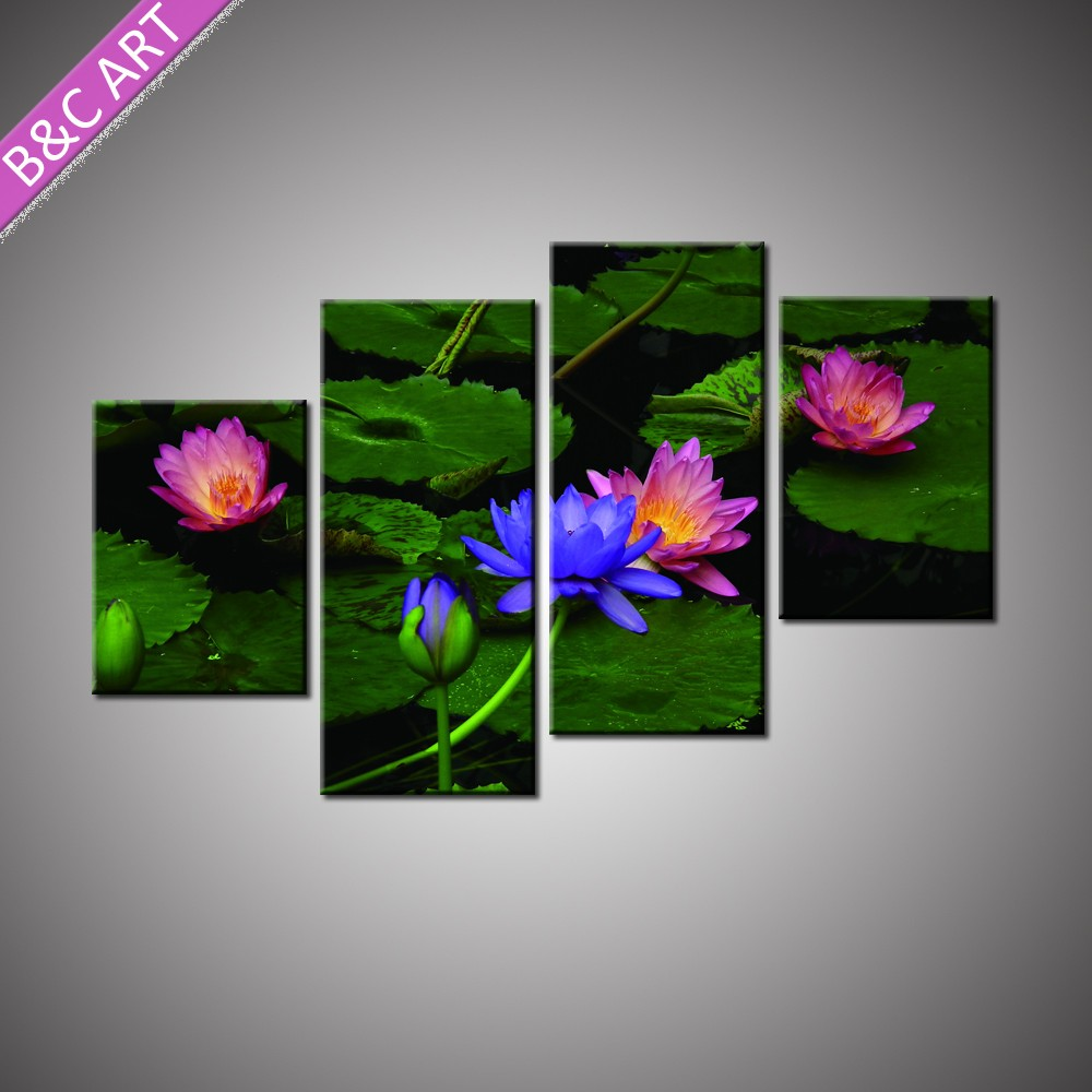 Stretched Custom Canvas Prints Scenery Picture Wall Art Lotus Flower