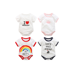 2018 Summer Short Sleeve Printed Cotton Fabric Baby Clothes Newborn