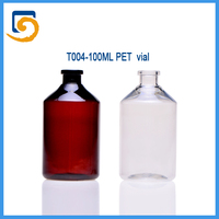100ml clear amber PET injection vaccine vial for oxytetraychine