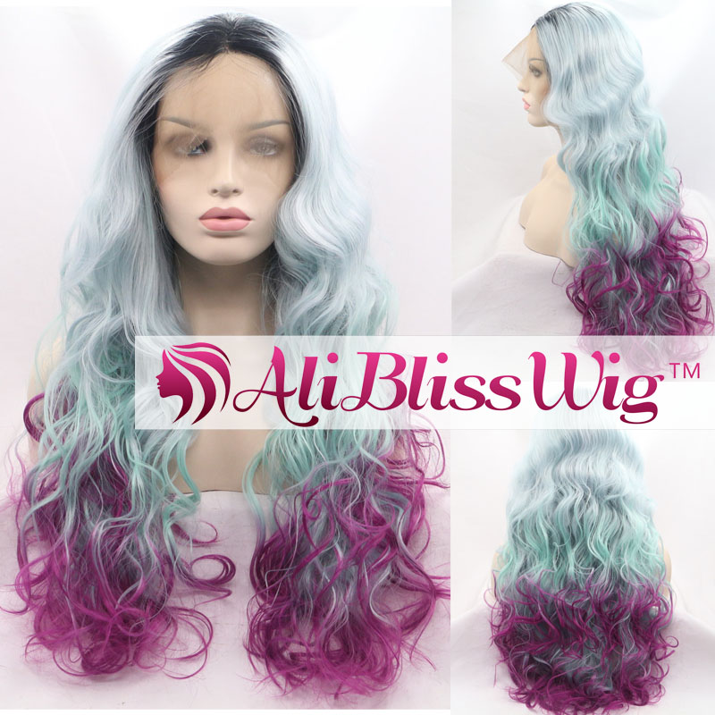 "22"" Long Wavy Heat OK Fiber Dark Roots Three Tone Ombre Grey Green Purple Curly Lace Front Synthetic Wig"