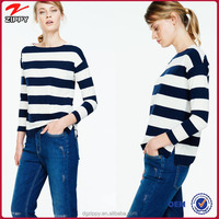 Apparel wholesale ladies clothing long sleeves wide stripe women blouse