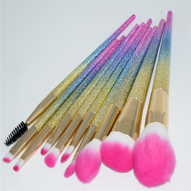 10pcs custom logo private label professional glitter makeup <strong>brush</strong>