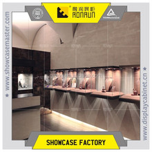 Fashion tempere glassjewelry display cube , wall mounted display cabinet with led lights design , jewelry shop furniture