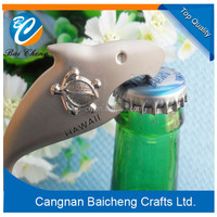 Nice super quality metal bottle opener key chain with ancient color shark shaped can open the bottle easily