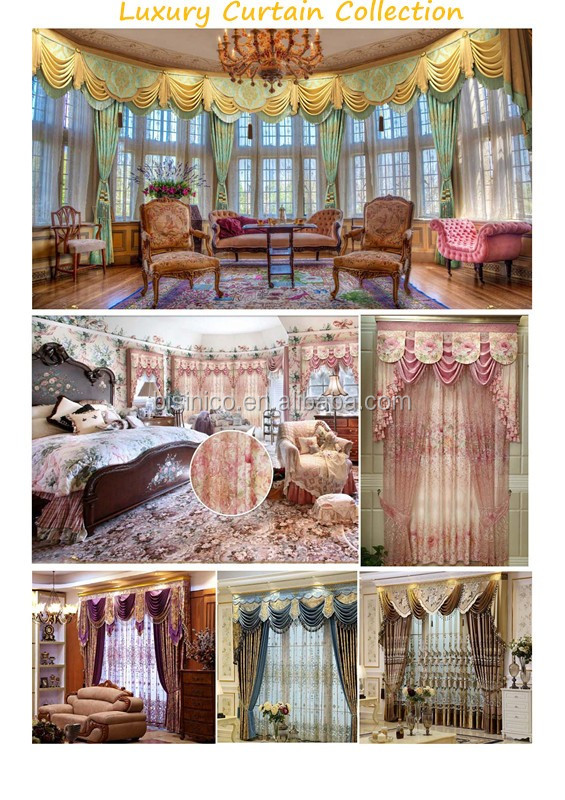 Luxury European Style Home Decorated Blackout Living Room Bay Window Curtain, Royal Ready Made Drapery Window Curtain