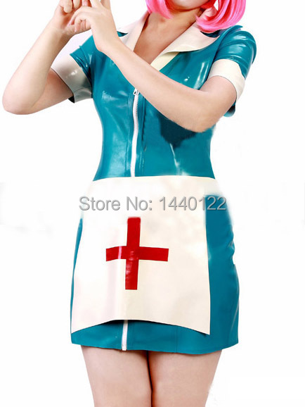 Fashion women 2015 latex dress Sexy latex nurse uniform fetish rubber garment gummi 0.4mm plus size hot sale