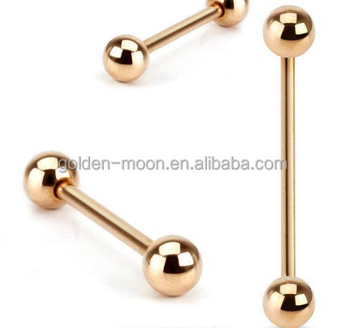 14G Rose Gold Plated Straight Industrial Barbell Tongue Nipple Ring with Balls