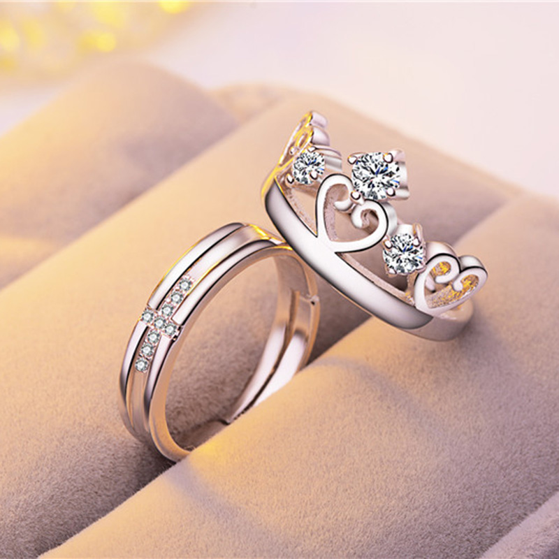 Fashion Jewelry Engagement 925 Silver Zircon Beautiful Couple Crown <strong>Ring</strong>