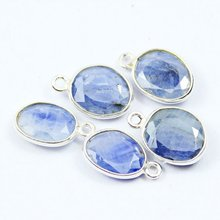 5 Pcs - 12-12.5mm- Natural Blue Sapphire Oval Cut Gemstone Bezel 925 Sterling Silver Handmade Charms Pendant Findding 572