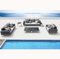 Modern stylish 3 2 1 sofa set designs with aluminum legs resin wicker outdoor furniture