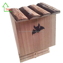 Hanging Wooden Natural Novelty Bat House with bark roof