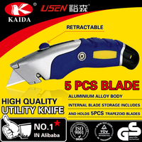 Auto Retractable Safety Cutter 5pcs Trapezoid blade Aluminium Alloy Auto retractable Utility Cutter Knife