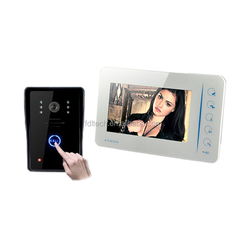 High Quality 4 wire 7 inch colorful LCD Screen video door phone system
