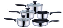 Popular Kitchen 12 pcs Capsule Bottom Cooking Pot Stainless Steel Non Stick Cookware Set