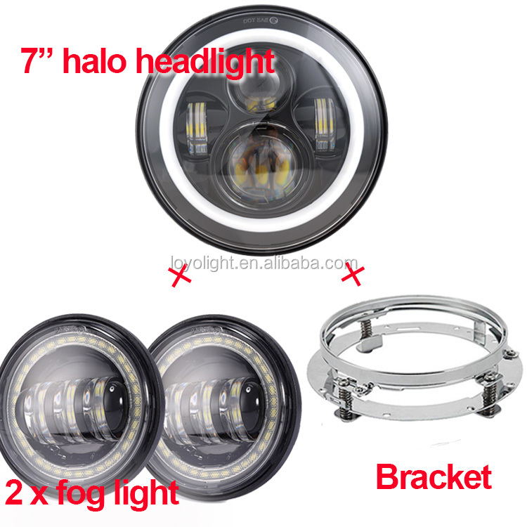 "sets of Round 7"" inch jeep halo headlight + 2 x 4.5"" inch led passing light + 7inch mounting bracket for motorcycle"