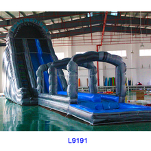 24'H triple lane tropical dults inflatable slip n slide giant inflatables water slide