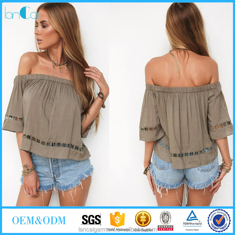 Hot sell girls summer top strapless designs and short sleeve for women