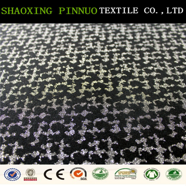 Wholesale knitted jacquard polyester polyester lurex fabric for clothing