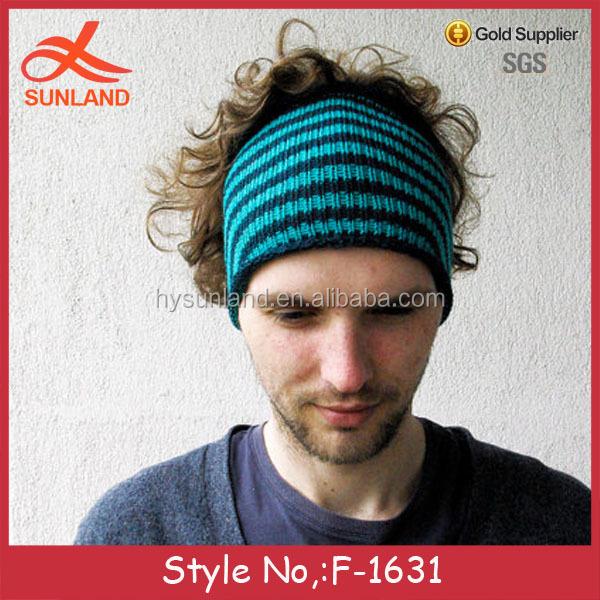F-1631 new fashion blue striped men's headband handmade turban hat for 2016
