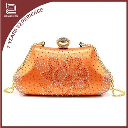 Classic beauty Crystal & Satin orange Evening Bags lace clutch for women