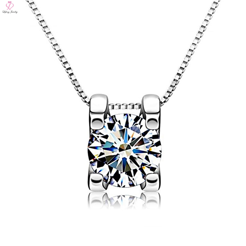 2017 New design CZ custom square shape 925 pure silver pendant