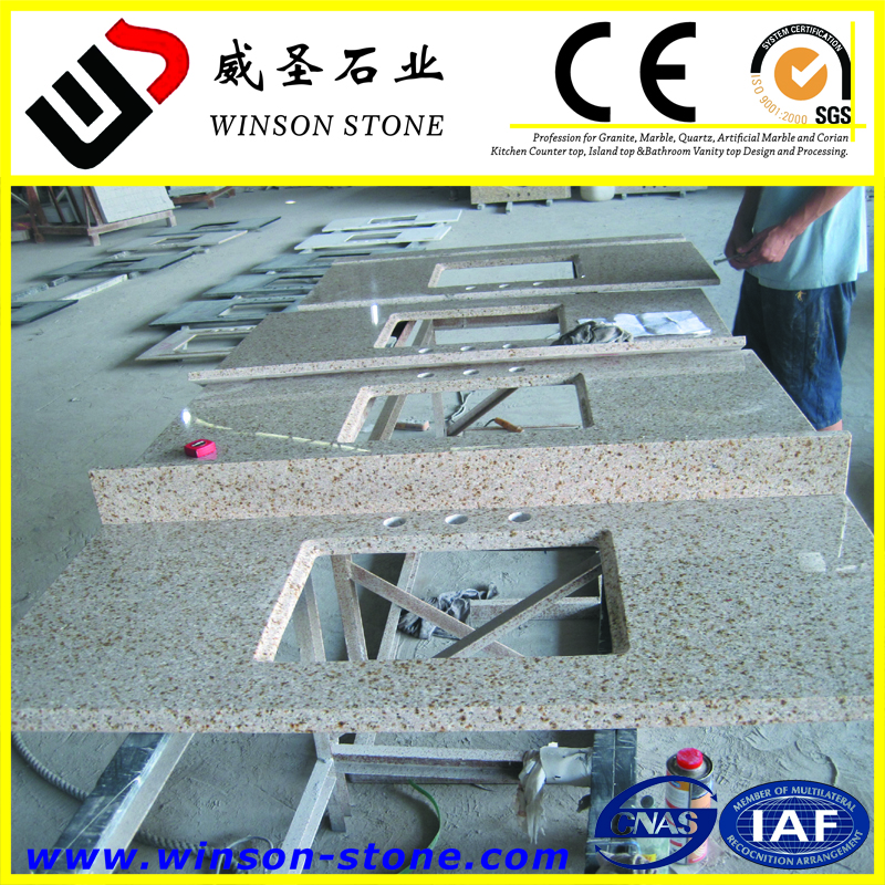 Chinese cheapest yellow granite G682 Golden Beach Rustic Yellow cut-to-size countertop, vanity top