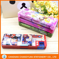 Plastic magnetic pencil box with cute design double button (CY5004)