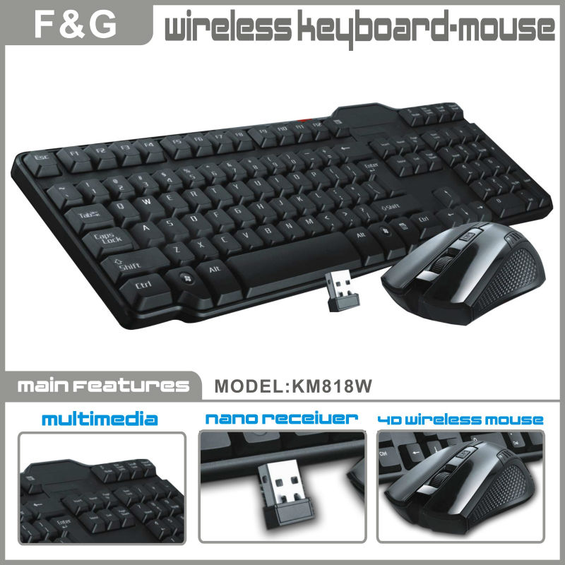 2.4G wireless USB computer keyboard and mouse combo with battery