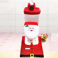 OEM Ebay hot selling bathroom Santa toilet seat cover and rug for christmas decoration