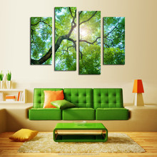 wholesale Green tree designs canvas art cheap in china , 4 panles Canvas Print custom canvas prints wall painting