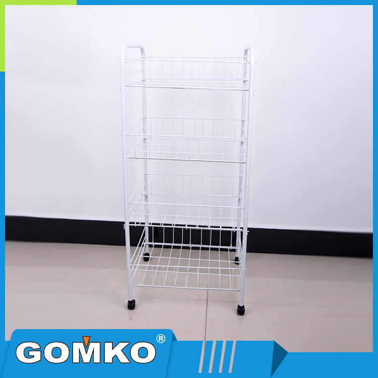 4 Tier PE coating Metal Vegetable Rack for Kitchen Used